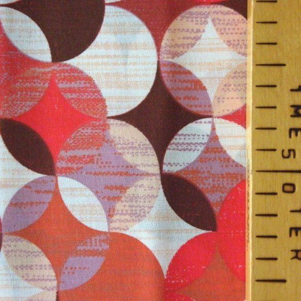RONDO, geometrikus körmintás pamutvászon méteráru, rubin