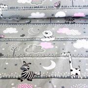 DREAM, extra széles, macis, zebrás, szürke-rózsaszín, gyerekmintás pamutvászon