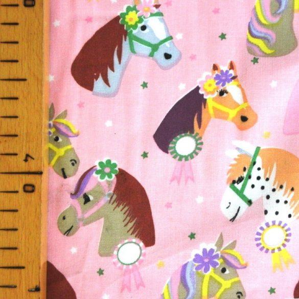 RÁRÓ, extra széles, lovacskás, gyerekmintás pamutvászon, rózsaszín