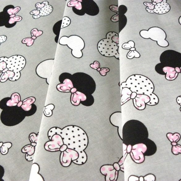 Rózsaszín masnis Minnie fej kismintás extra széles pamutvászon, szürke