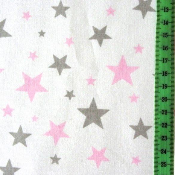 STARLET, fehér, rózsaszín-szürke csillagos, extra széles pamutvászon