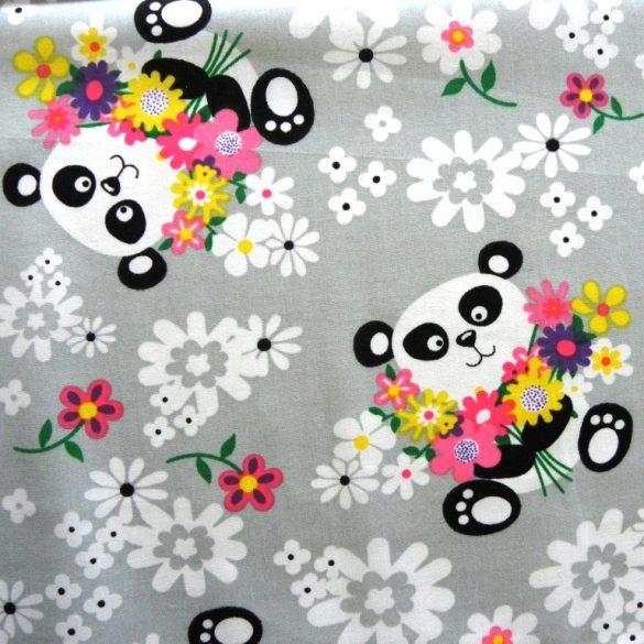 PANDA, virágos, panda macis, extra széles, gyerekmintás pamutvászon, szürke