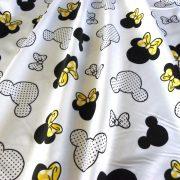 Minnie, extra széles, Mickey és Minnie mintás pamutvászon, sárga