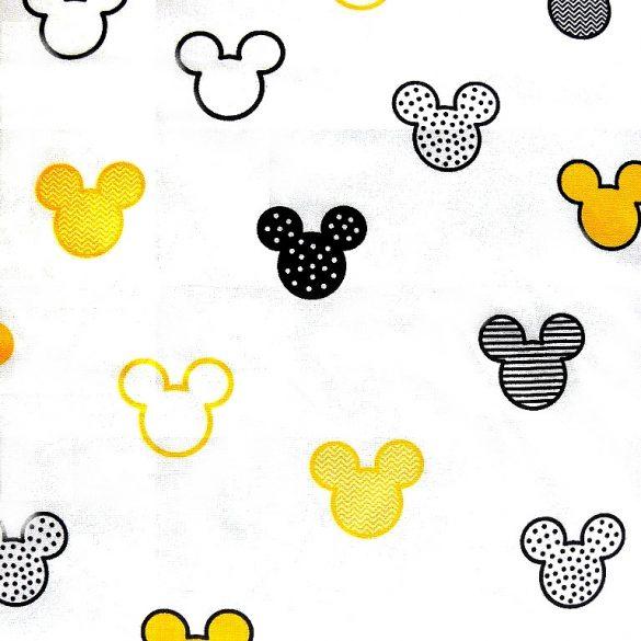 MICKEY mintás pamutvászon, extra széles, fehér-sárga