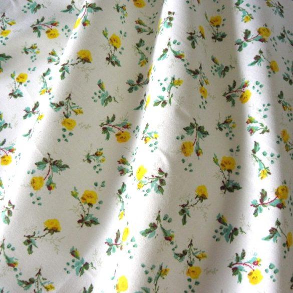 BABARÓZSA, extra széles, virágmintás pamutvászon, sárga