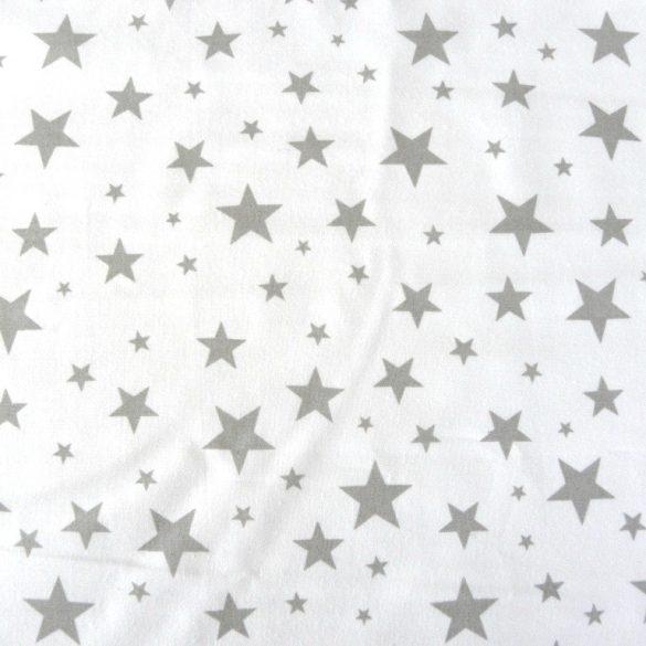 STARLET, fehér, szürke csillagos, extra széles pamutvászon
