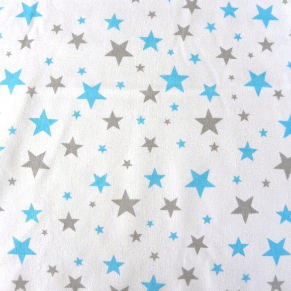 STARLET, fehér, türkizkék-szürke csillagos, extra széles pamutvászon