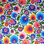 FOLKLÓR, extra széles, sűrű virágmintás pamutvászon, fehér
