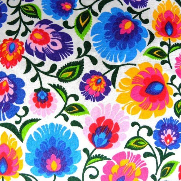 FOLKLÓR, extra széles, sűrű virágmintás pamutvászon