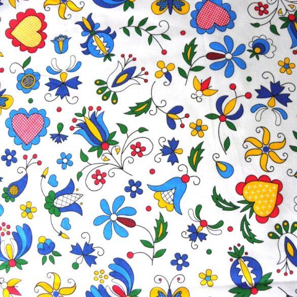 FOLKLÓR, extra széles, virágmintás pamutvászon, fehér
