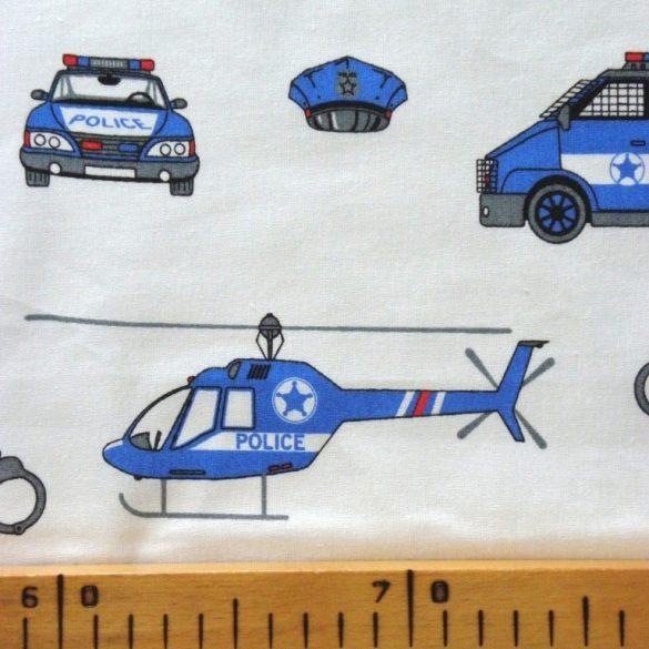 POLICE, extra széles, rendőrös, gyerekmintás pamutvászon, fehér