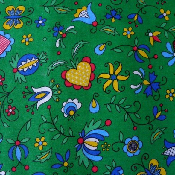FOLKLÓR, extra széles, virágmintás pamutvászon, zöld