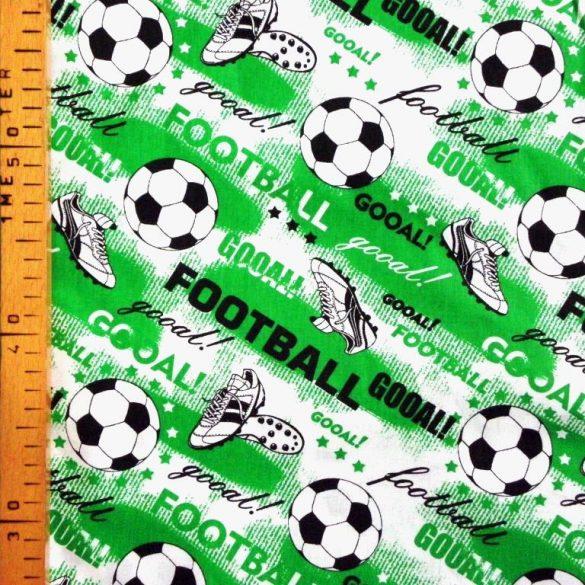 GOÓL, foci mintás extra széles pamutvászon - zöld