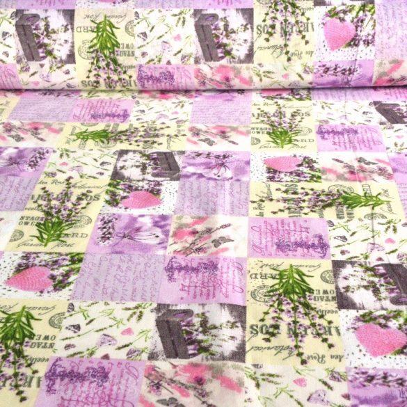 VIOLA, patchwork mintás, levendulás, lepkés kevertszálas vászon anyag
