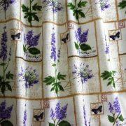 Blue plaid, floral blended linen fabric