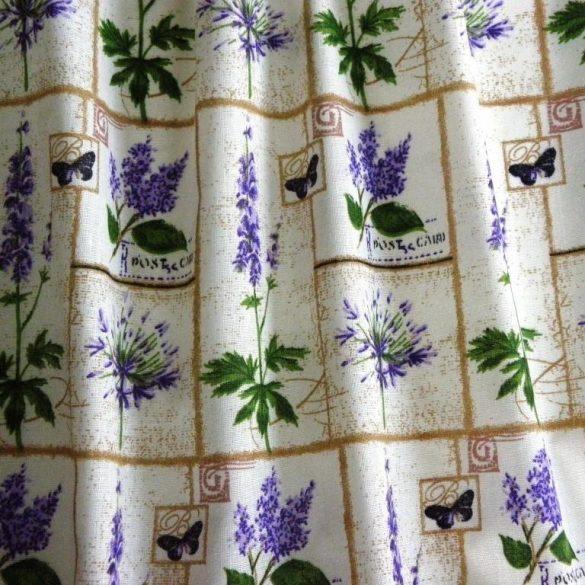 LILLA, lila virágos patchwork kevertszálas vászon anyag