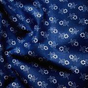 Kékfestő mintás, kevertszálas vászon, kék - maradék darab: 0,53 m