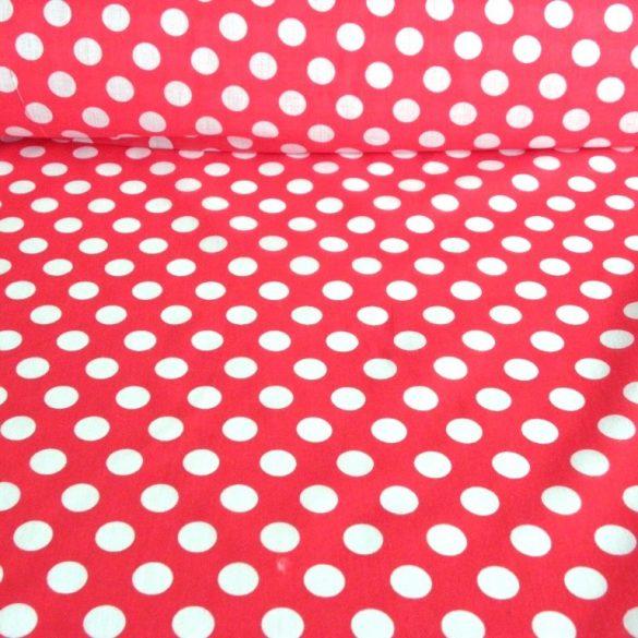 DOTTY, pöttyös kevertszálas vászon anyag, piros