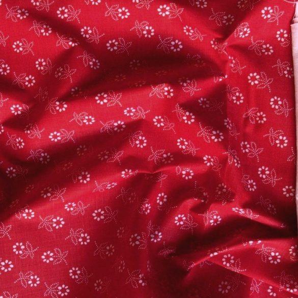 Kékfestő mintás, kevertszálas vászon, piros