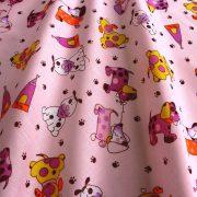 FOLTI, kutyusos kevertszálas vászon, rózsaszín