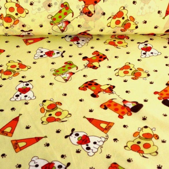 FOLTI, kutyusos kevertszálas vászon, sárga - maradék darab: 1,24 m
