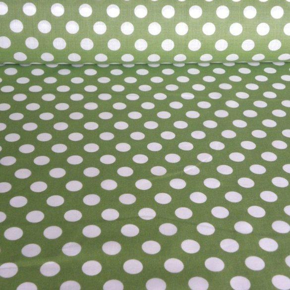 DOTTY, pöttyös kevertszálas vászon anyag, zöld