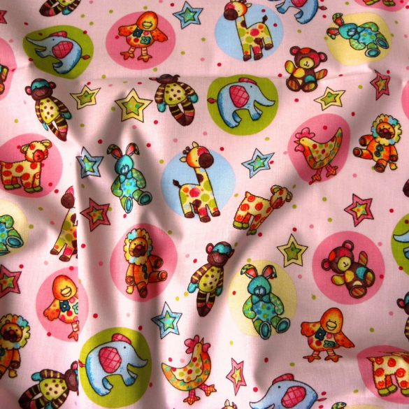 ZOO, állatos gyerekmintás pamut-poliészter vászon méteráru, rózsaszín