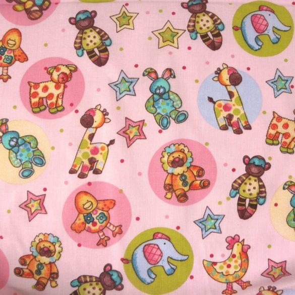 ZOO, állatos gyerekmintás pamut-poliészter vászon méteráru, rózsaszín - kishibás