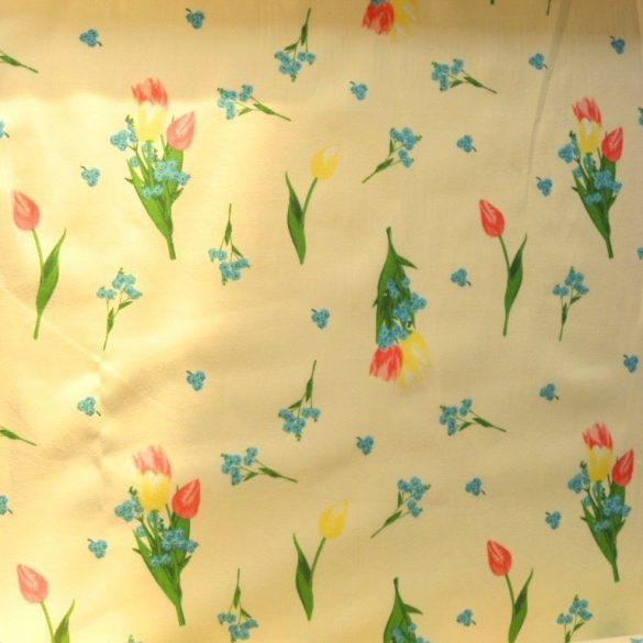 TULI, tulipán, nefelejcs virágmintás kevertszálas vászon, halványsárga
