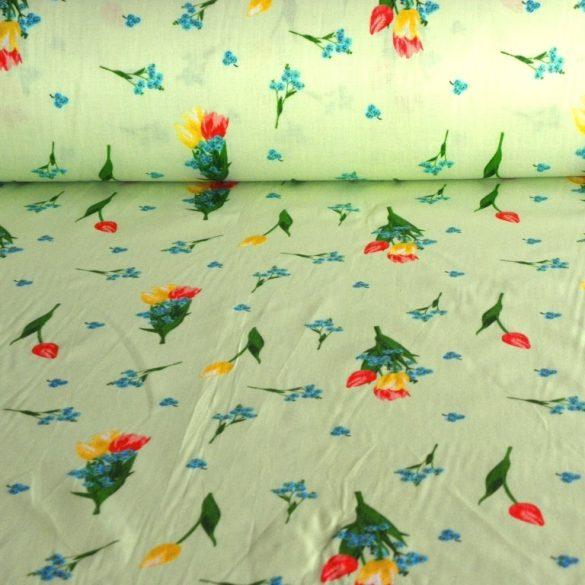 TULI, tulipán, nefelejcs virágmintás kevertszálas vászon, halványzöld