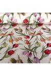 Rózsás lakástextil, dekorvászon,  natúr-rózsaszín