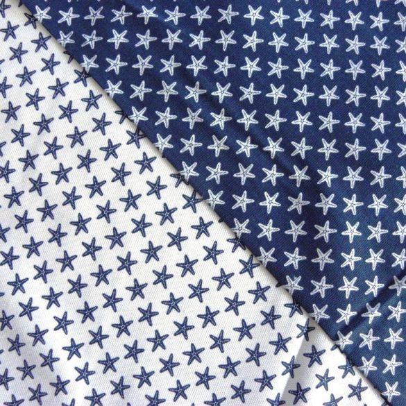 ESTRELA, fehér-kék tengericsillag mintás lakástextil, dekorvászon