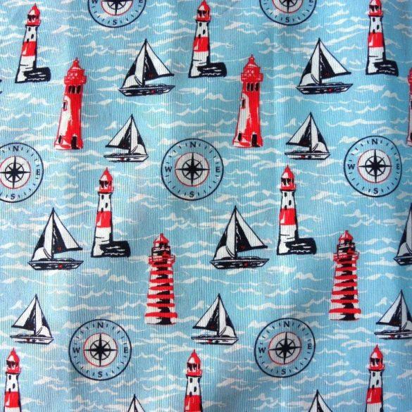 SEA, türkiz, világítótornyos, hajós lakástextil, dekorvászon