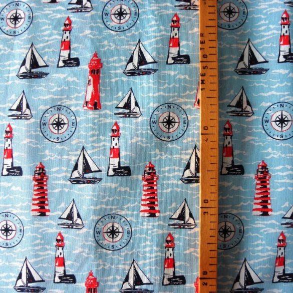 SEA, türkiz, világítótornyos, hajós lakástextil, dekorvászon, 140 cm és 280 cm szélességben