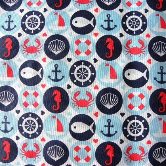 AQUALAND, türkiz, kismintás, hajós lakástextil, dekorvászon, maradék darab