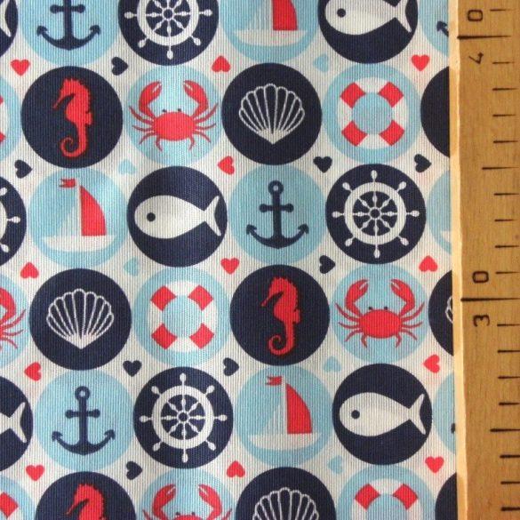 AQUALAND, türkiz, kismintás, hajós lakástextil, dekorvászon