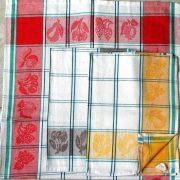 Jacquard, zöld kockás, gyümölcs mintás, pamut konyharuha, 3 db-os csomag