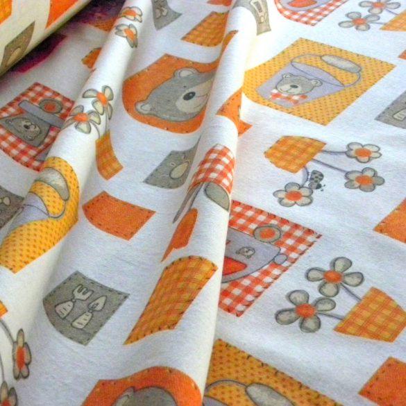 BRÚNÓ, macis, narancs gyerekmintás pamut flanel méteráru