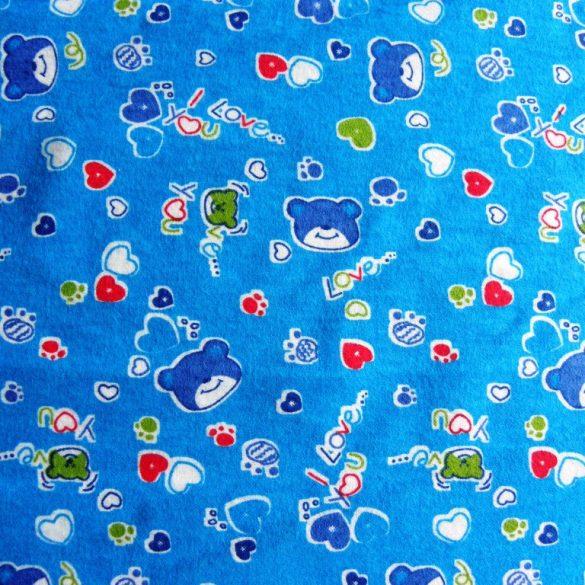 MILU, macis, gyerekmintás pamut flanel méteráru, kék
