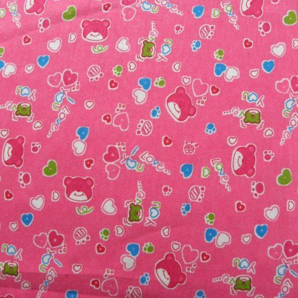 MILU, macis, gyerekmintás pamut flanel méteráru, pink