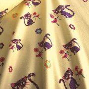 CICUS, cicás, gyerekmintás pamut flanel méteráru, sárga