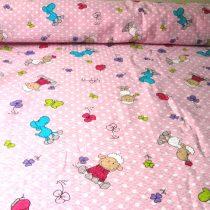 Rózsaszín, barika mintás pamut krepp vászon