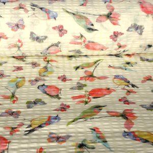 LILE, madaras, lepkés pamut krepp vászon