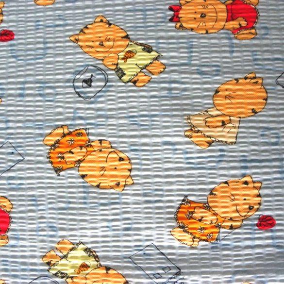MICU, cica mintás pamut krepp vászon, kék