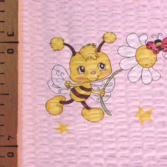 MAJA, méhecske mintás, rózsaszín, pamut krepp vászon