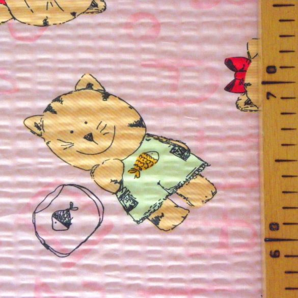 MICU, cica mintás pamut krepp vászon, rózsaszín