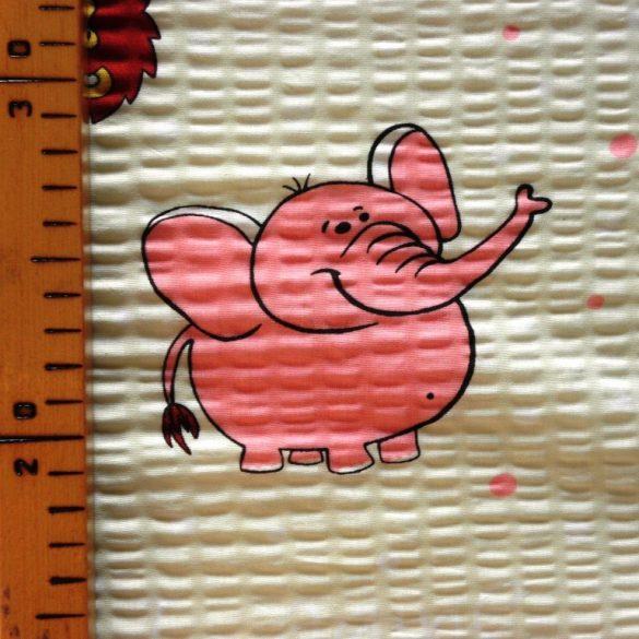 ELI, állat mintás, krém-rózsaszín, pamut krepp vászon