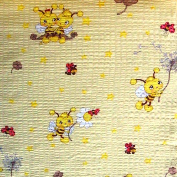 MAJA, méhecske mintás, krémsárga, pamut krepp vászon