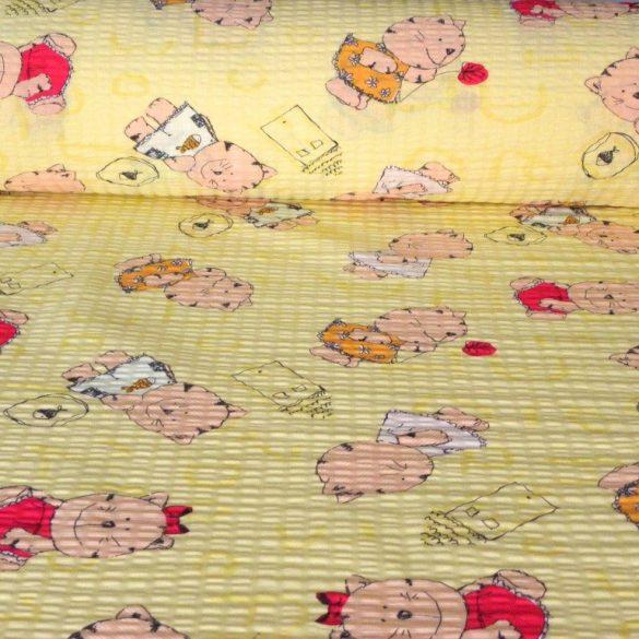 MICU, cica mintás pamut krepp vászon, sárga