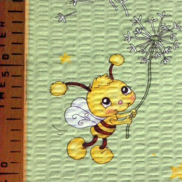 MAJA, méhecske mintás, világoszöld, pamut krepp vászon